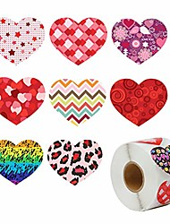 cheap -500 pieces funky heart roll stickers, valentines day colorful heart shaped sticker, valentines love decorative sticker, heart adhesive labels for wedding party accessories favor