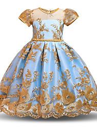cheap -Kids Little Girls' Dress Floral Skater Dress Party Wedding Lace Bow Blue Yellow Blushing Pink Midi Short Sleeve Princess Sweet Dresses Summer Regular Fit 3-10 Years
