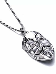 cheap -muamax stainless steel v for vendetta clown mask hip-hop charm pendant necklace clown mask pendant necklace for men women with 30 inches wheat chain