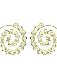 cheap -14k gold/silver bohemian spiral earrings vintage tribal swirl hoop earrings for women girl (gold)