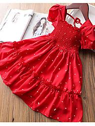 cheap -[100-140cm] sweet red puff sleeve dress for girls