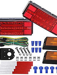 cheap -OTOLAMPARA 300W Tri-colors DC 12V LED Low Profile Submersible Trailer Tail Light Kit Rectangle LED Trailer Lights Halo Glow with Wiring Harness Combined Stop Tail Lights Turn Signal Function 2pcs
