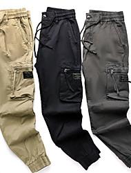 cheap -Men's Cargo Outdoor Sports Jogger Sweatpants Trousers Cargo Pants Cotton Casual Daily Pants Solid Color Full Length Drawstring Zipper Pocket Elastic Waist Khaki Black Dark Gray