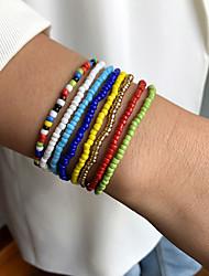 cheap -Women's Bead Bracelet Beads Fashion Colorful Holiday European Sweet Boho Glass Bracelet Jewelry Rainbow For Sport Gift Prom Birthday Festival
