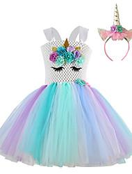 cheap -Princess Fairytale Unicorn Dress Cosplay Costume Party Costume Girls' Movie Cosplay Tutus Plaited Rainbow Dress Headwear Christmas Halloween Children's Day Polyester