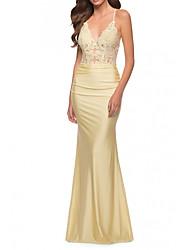 cheap -Mermaid / Trumpet Elegant bodycon Engagement Formal Evening Dress Spaghetti Strap Sleeveless Floor Length Charmeuse with Appliques 2021
