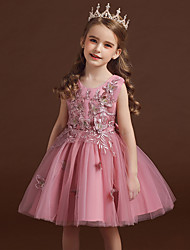 cheap -Kids Little Girls' Dress Floral Party Princess Butterfly Wedding Embroidered Tulle Bow White Red Blushing Pink Fashion Sweet Dresses 3-12 Years
