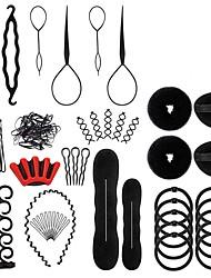 cheap -27Pcs Hair Styling Set Hair Design Styling Tools DIY Accessories Hair Modelling Tool Kit Magic Fast Spiral Hair Braid Braiding Tool for Women and Girls