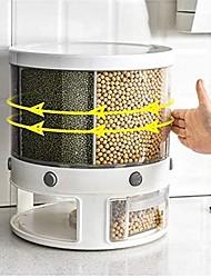 cheap -Rotating Grain Dispenser Storage Box 10Kg Rice Food Dispenser Container 6-Grid Sealed Can Moisture-Proof Grain Bucket Tank Household Kitchen