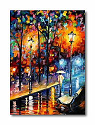 cheap -Oil Painting Handmade Hand Painted Wall Art Abstract Back to School in Rain 3D Palette Knife Home Decoration Decor Stretched Frame Ready to Hang