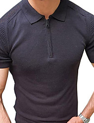 cheap -Men's Unisex Pullover Knitted Solid Color Stylish Vintage Style Short Sleeves Sweater Cardigans Shirt Collar Summer Large amount of spot long-term supply Black Navy Blue
