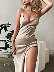 cheap -Sheath / Column Elegant Sexy Holiday Wedding Guest Dress V Neck Spaghetti Strap Sleeveless Ankle Length Spandex with Sleek Split 2021