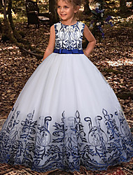 cheap -Kids Little Girls' Dress Floral A Line Dress Party Wedding Mesh Bow Gold Royal Blue Red Maxi Sleeveless Princess Sweet Dresses Summer Regular Fit 3-12 Years