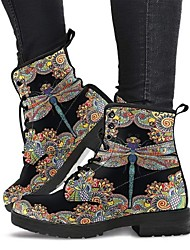 cheap -Women's Boots Block Heel PU Animal Patterned Rainbow