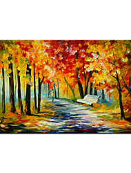 cheap -Oil Painting Handmade Hand Painted Wall Art Contemporary Palette Knife Autumn  Maple Forest Park Landscape Home Decoration Decor Rolled Canvas No Frame Unstretched