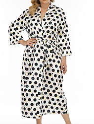 cheap -Women's Plus Size Robes Gown Bathrobes Home Spa Print Dot Imitated Silk Hot Romantic Fall Winter V Wire Long Sleeve Drawstring Lace Up Belt Included