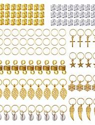 cheap -140 Pieces Dreadlock Jewelry Aluminum Dreadlocks Beads Metal Hair Cuffs Hair Rings Shell Charms Hair Coils Braiding Hair Pendants Decoration Clips