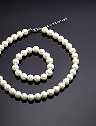 cheap -Women's Bead Bracelet Bead Necklace Imitation Pearl Earrings Jewelry White For Party Wedding 1 set