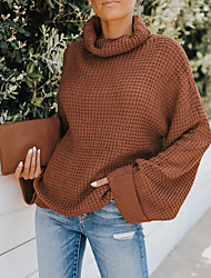 cheap -Women's Sweater Knitted Solid Color Stylish Long Sleeve Loose Sweater Cardigans Turtleneck Fall Winter Blue Green Coffee