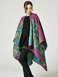 cheap -European And American Fashion Split Thick Shawl Autumn And Winter Warm Female Scarf Air-conditioned Room Camouflage Leopard Print Long Cloak 130x150CM