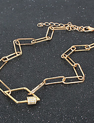 cheap -geometric link buckle pendant fashion necklace alloy clavicle chain necklace female