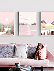cheap -Morandi Style Wall Art Canvas Prints Painting Artwork Picture Pink Landscape Home Decoration Decor Rolled Canvas No Frame Unframed Unstretched