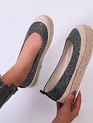 cheap -Women's Flats Round Toe PU Solid Colored White Black Beige