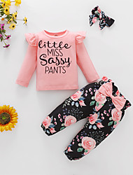 cheap -2 Pieces Baby Girls' Sweatshirt & Pants Clothing Set Fashion Casual Daily Cotton Purple Blushing Pink Wine Floral Letter Ruffle Print Long Sleeve Regular / Fall / Winter