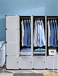 cheap -16 Cube Organizer Stackable Plastic Cube Storage Shelves Design Multifunctional Modular Closet Cabinet with Hanging Rod White Doors and Black Panels