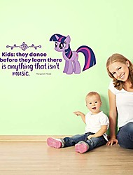 cheap -they dance my little pony life quote cartoon quotes decors wall sticker art design decal for girls boys kid room bedroom nursery kindergarten home decor stickers wall art vinyl decoration (20x40 inch)