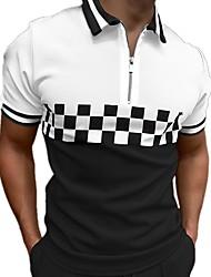 cheap -Men's Golf Shirt Plaid Color Block Zipper Print Short Sleeve Street Tops Cotton Sportswear Casual Fashion Comfortable White / Summer