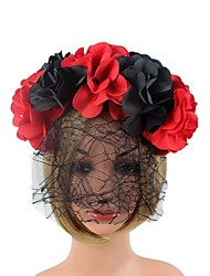 cheap -Anime Holiday Dress-up Head Red And Black Simulation Flower Black Net Yarn Headband Halloween Party Hair Accessories