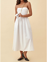 cheap -A-Line Empire Minimalist Party Wear Prom Dress Strapless Sleeveless Ankle Length Taffeta with Pleats Ruched 2021
