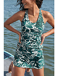 cheap -Women's One Piece Monokini Swimsuit Open Back Print Floral Green Swimwear Tunic Blouse Scoop Neck Bathing Suits New Casual Vacation