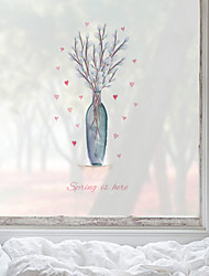 cheap -Vases Pattern Matte Window Film Cling Vinyl Thermal-Insulation Privacy Protection Home Decor For Window Cabinet Door Sticker Window Sticker - 58*60CM