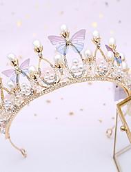cheap -Children's Crown Golden Baroque Butterfly Princess Crown Hair Band Children's Headdress Diamond Birthday Crown