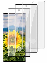 cheap -[3 pack] galaxy note 10 plus screen protector, 9h tempered glass no bubbles 3d curved support fingerprint unlock hd glass screen protector for samsung galaxy note 10 plus/note 10+ 5g (6.8 inch)