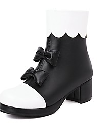 cheap -Girls' Boots Boots Bootie Christmas PU Cute Casual / Daily Fashion Boots Big Kids(7years +) Christmas Wedding Party Bowknot Ruffles Pink Black Fall Winter / Color Block / Rubber