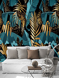 cheap -Mural Wallpaper Wall Sticker Covering Print Peel and Stick Self Adhesive Blue Banana Leaf Yellow Leaf Combination Room Wall  PVC / Vinyl  Home Decor