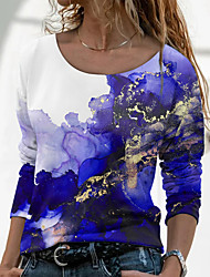 cheap -Women's Abstract Painting T shirt Graphic Long Sleeve Print Round Neck Basic Tops Blue Purple Green