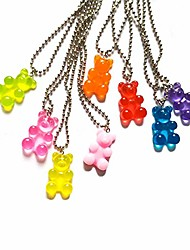 cheap -All Chain Necklace Necklace Adjustable Bear Punk Cool Cute Resin Alloy NZ1709taohong NZ1709qianfen NZ1709huangse NZ1709lvse NZ1709hongse 51~80 cm Necklace Jewelry For Gift Daily Club / # / # / #