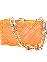 cheap -Women's Bags Acrylic Evening Bag Chain Transparent Solid Colored Party Wedding Evening Bag Chain Bag Fuchsia Gray Green Orange