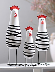 cheap -Chicken Family 3 Sets Of Hand Carved Wooden Handicrafts Home Furnishings