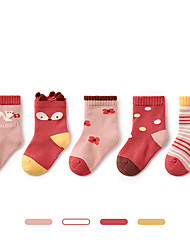 cheap -Kids Unisex Stockings 5 Pairs Five pairs Cartoon Cotton Daily Wear Casual Socks 6 Months+