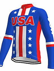 cheap -21Grams Men's Long Sleeve Cycling Jersey Spandex Polyester Blue American / USA Stars Funny Bike Top Mountain Bike MTB Road Bike Cycling Quick Dry Moisture Wicking Breathable Sports Clothing Apparel