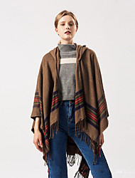 cheap -European and American style color strip shawl national style imitation cashmere thick with hat coat tourism air conditioning multi-purpose cloak 130x150CM