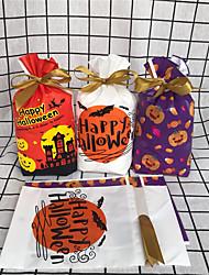 cheap -50pcs Halloween Drawstring Pocket Ribbon Drawstring Bag Candy Bag Biscuit Packaging Bag Food Baking Packaging Bag