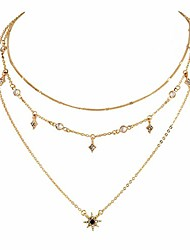 cheap -choker necklaces for women multi-layered stars pendant gold necklace jewellery