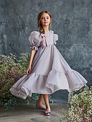 cheap -A-Line Ankle Length Flower Girl Dresses Party Chiffon Short Sleeve Jewel Neck with Solid