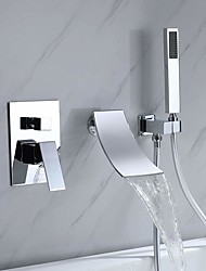 cheap -Waterfall Tub Faucet with Handheld Shower Chrome High Flow Waterfall Wall Mounted Bathtub Faucet Waterfall Spout Tub Filler Solid Brass with Black Finished